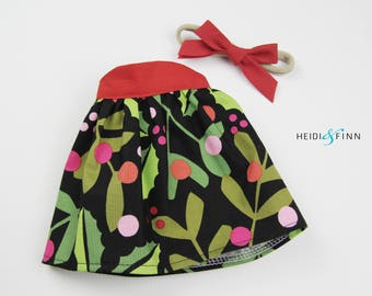 LIMITED holiday stuffed doll Mini Pals OUTFIT - holly dress and headband set rag doll clothing