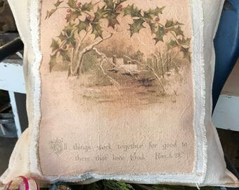 Grain Sack Pillow Cover  Them that love God  by Gathered Comforts