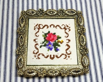 Yearly Big Sale: Vintage Ornate Brass Square Frame with Needlework