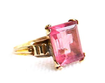 Antique Art Deco Gold Filled Pink Paste Solitaire Ring - 2 Carats Hand Cut Glass Emerald Cut - Wedding Bridal - Size 7 1/2 - Signed 1920s