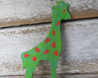 Giraffe Magnet Lime Green Blue Bright Orangey Red Wood Giraffe Whimsical Cottage Farmhouse Children Style Ready to Ship One of a Kind M-5