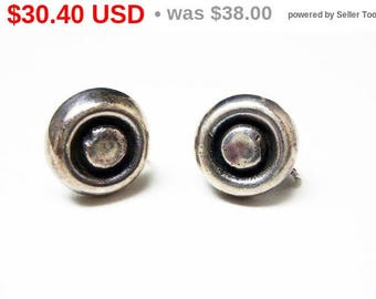 Spring Fling Sale Vintage Sterling Round Modernist Earrings - Button Style earrings - Screwback Style - Signed STERLING  - Vintage 1940's...