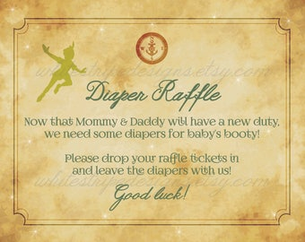 Diaper Raffle Sign for Peter Pan Baby Shower, Neverland Baby Shower Decor - 8x10 Instant Download