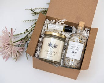 Restore Self Care Day Gift Set - candle, bath salts, roll on perfume oil