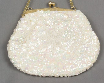 Vintage Beaded Evening Bag White satin Seed and Sequin beads Shiny Purse Gold frame/chain handle Seed bead flower and vines evening bag