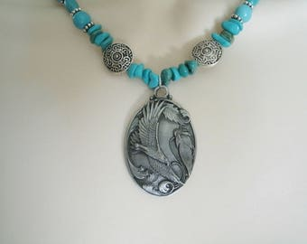Turquoise Eagle Necklace, turquoise jewelry southwestern jewelry southwest jewelry native american jewelry style country western bohemian