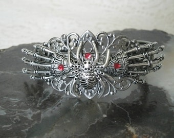 Skeleton Hands And Spider Cuff Bracelet, gothic jewelry goth jewelry fantasy bracelet steampunk rockabilly bracelet vampire gothic bracelet