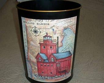 Vintage Adorable Holland Michigan Holland Harbor Lighthouse West Michigan Metal Wastebasket Trash Can