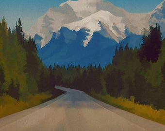 Rocky Mountains Canada Travel Poster 8x10 Size Vintage Style Mountain Art Canadian Rockies