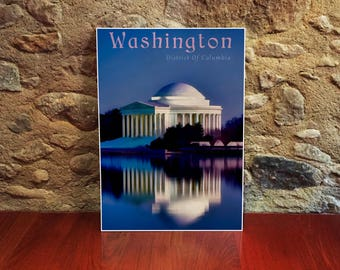 Washington DC 12x18 Poster Art Print Jefferson Memorial America Wall Art City Art Print US Cities Art USA Wall Art