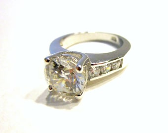 Bold Ring Large CZ Solitaire Stone CZ Ring Size 7 Bright Clear Stones Gift for Her Gift for Mom Gift Idea Under 25