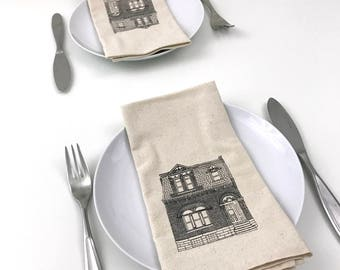 Cotton Napkins - Brick house - hand screen printed set of 2 dinner napkins - reusable napkins for your table setting - cottage