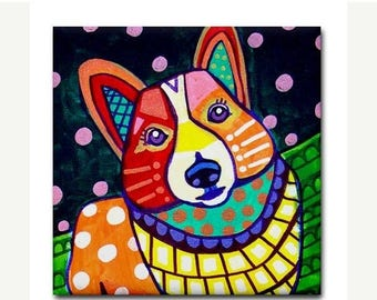 45% Off Today- Corgi art Tile Ceramic Coaster Mexican Folk Art Print of painting by Heather Galler dog