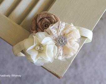 Burlap Headband, Rustic Headband, Flower Girl Headband, Baby Girl Headband, Ivory Headband, Rustic Wedding, Cream, Ivory, Burlap, RTS