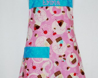 Girls Cupcake Youth Apron, Pink and Teal Apron, Tween Apron, Custom Personalize With Name, No Shipping Fee, Ready To Ship TODAY 1071