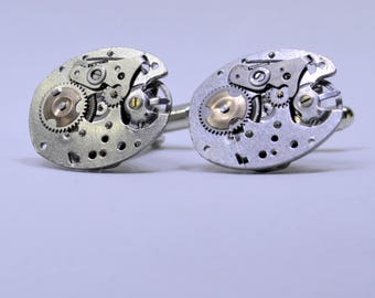 Stunning oval Industrial  watch movement cufflinks ideal gift for a wedding, birthday or anniversary 114