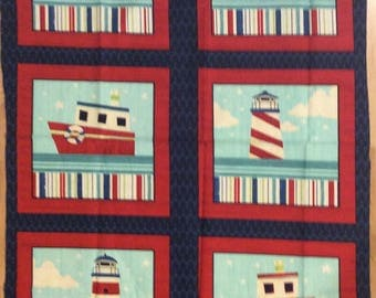 A Wonderful Ship's Ahoy Matey Pirate Ships Blocks Cotton Fabric Panel Free US Shipping