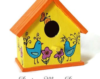 Yellow, Orange and Multi Colorful Folk Art Birdhouse Decor, Bluebirds, Daisy Flowers, Sunflowers, Butterfly, Country, Cottage, Garden