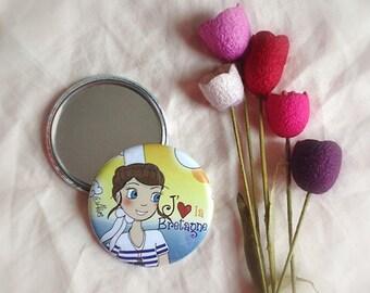 """Round Pocket mirror for bag """"lOve Breizh"""""""