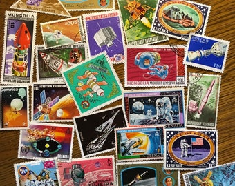 25 NASA Apollo SPACE Used World Postage Stamps crafting collage cards altered art scrapbooks decoupage collecting philately 4a