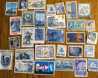 30 Blue Used World Postage Stamps for crafting, collage, cards, altered art, scrapbooks, decoupage, history, collecting, philately 4c