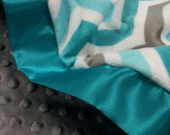 Baby Blanket Teal and Gray Chevron Zig Zag with Gray Minky and Single Teal Trim, Toddler Size