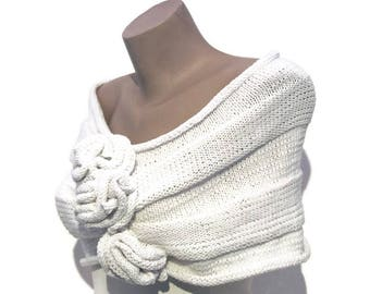 White Bridal Cape-White Bridal Capelet-White Wedding Cape-White Bridal Wrap-White Wedding Wrap-Cotton Cape-White Bridal Cover up