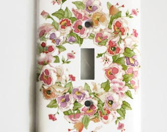 Floral Wreath Light Switch Cover, Shades of Pink, Bumblebees, Swarovski Crystals
