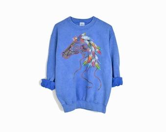 Vintage 90s Blue Horse Spirit Sweatshirt - size small