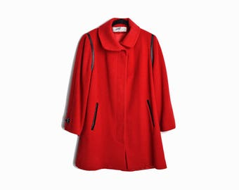 Vintage 80s Red Wool Coat with Black Leather Trim / Red Winter Coat - women's medium