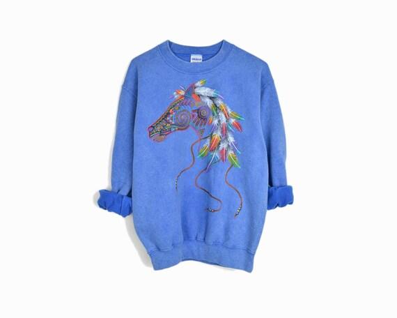 Vintage 90s Blue Horse Spirit Sweatshirt / Southwestern Horse Feathers Top / Stonewashed Sweatshirt - size small