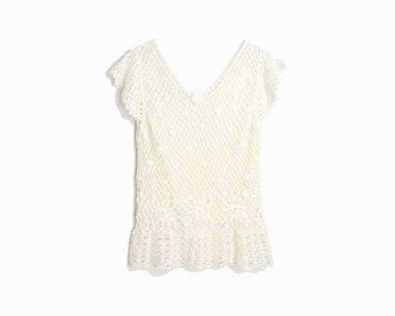 Vintage 90s Crochet Lace Top in Ivory / Summer Beach Top -  women's small