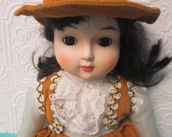 PORCELAIN DOLL VINTAGE - 1983 Albert Price Brown Velvet Dress with Hat Auburn Hair