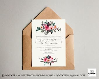 Romantic Spring WEDDING INVITATION // Floral Wedding Invite // Watercolor // Boho Wedding // Printable Wedding Announcement // Blush Green