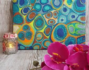 Abstract Art , Blue Orange Glitter Painting , Mixed Media Original Artwork , Retro colours