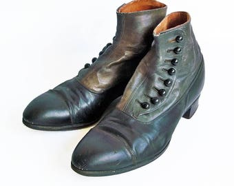 Late 1800s Edwin Clapp Two-Tone Leather Shoes-Boots from Portland, OR - Small Mens or Youth Size