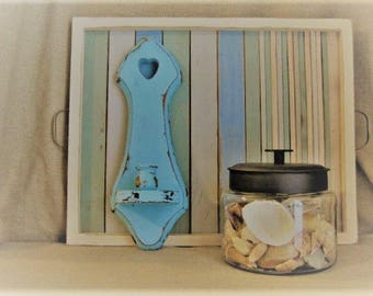 Summer Sale Beach House Blue Wall Sconce Candlestick Holder / Beach Cottage Decor / Shabby Aqua Blue Candle Sconce