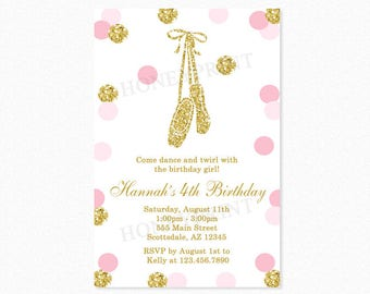 Pink and Gold Glitter Ballerina Birthday Party Invitation, Ballerina Birthday Party Invitation, Polka Dots, Printable or Printed