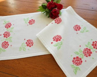 Red Roses Hand Embroidered Cotton Dresser Scarf Dresser Doily table Runner