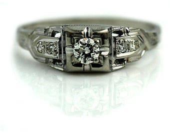 Antique Engagement Ring 1930s .23ctw Art Deco Ring Antique 18K White Gold Vintage European Cut Diamond Wedding Ring Milgrain Ring Size 5!