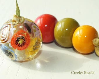 Handmade Lampwork Focal bead - 'Multi floral with spacers!' - Creeky Beads SRA