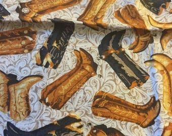 Quilter Quality Fabric Cowboy Boots - Out Of Print -36 x 23 inches