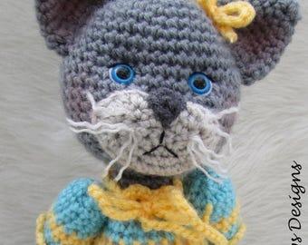Summer Sale Crochet Pattern Darling Cat by Teri Crews instant download PDF format Crochet Toy Pattern