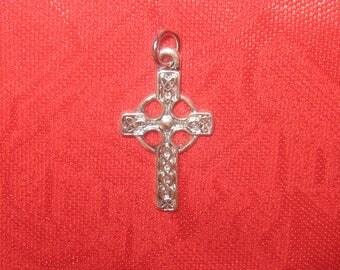 Small Irish Ireland Celtic Cross Pewter Alloy Pendant Necklace
