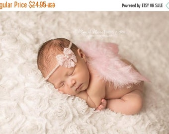 ON SALE Pink Feather Wings with headband, baby wings, angel baby, angel wings, newborn photo prop, photography prop