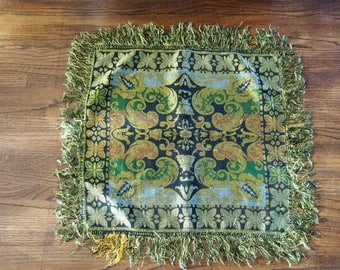 Silk Tapestry Brocade Centerpiece Table Topper Fringed