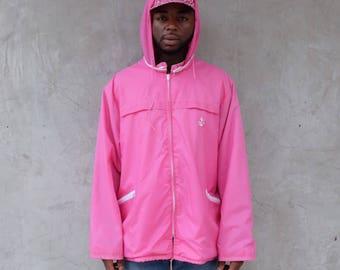 90s Pink Sailor Emblem Hooded Windbreaker Jacket