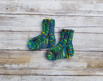 Rainbow Baby Socks. Hand Knit Baby Socks. Wool Baby Socks. Colorful Baby Socks. Teal Socks for Baby.