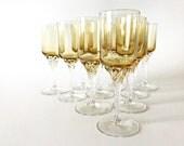 Crystal Cordial Glasses Twist Stem Vintage Amber Crystal Stemware