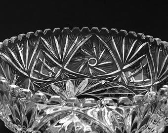 Large Crystal Fruit Bowl Cut Glass Bowl Glass Fruit Bowl Decorative Centerpiece
